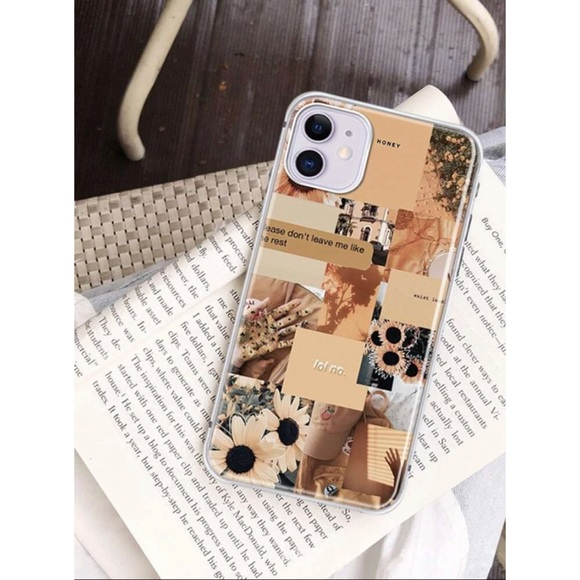 SHEIN Tan Aesthetic Collage Pattern IPhone 11 Case